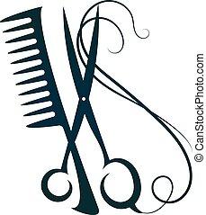 peine de pelo, tijeras
