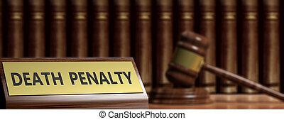 peine mort, texte, et, a, juge, gavel., 3d, illustration