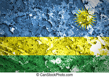 peint, béton, drapeau, rwanda, mur