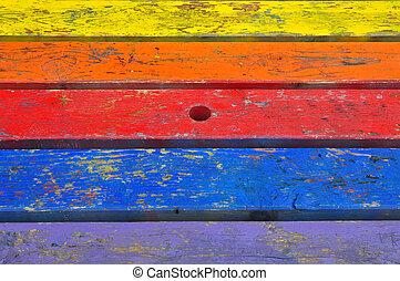 peint, bois, planches, fond