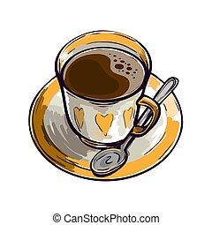 peint, boisson, tasse fraîche, cuillère, aromatique, fortifier, beau, coffee.