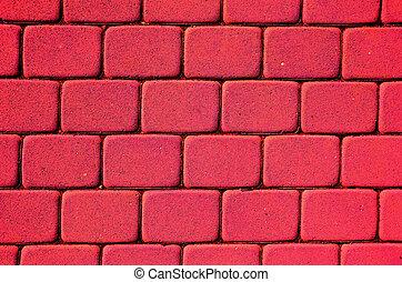 peint, briques, arrière-plan rouge