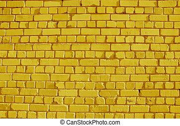 peint, briques, jaune, mur