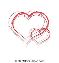 peint, cœurs, illustration