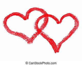 peint, cœurs, rouge lèvres