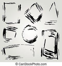 peint, cadre, lignes, raies, collection, brosse, encre, monochrome