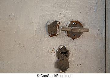 peint, casquette, door., trou de la serrure, métallique