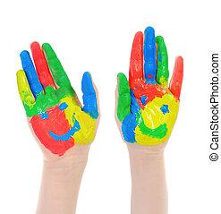 peint, child., main