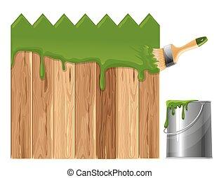 peint, clôture bois