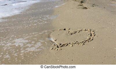 peint, coeur, plage sable