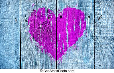 peint, coeur, résumé, mur, bois