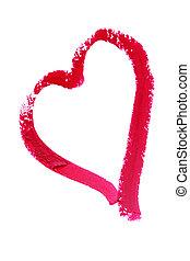 peint, coeur, rouge lèvres