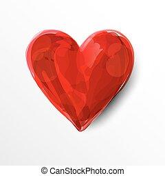 peint, coeur, rouges