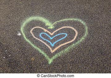 peint, coeur, rue