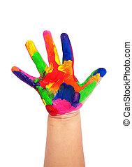 peint, coloré, enfant, main, contre, fond blanc
