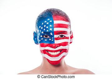 peint, drapeau américain, closeup, girl