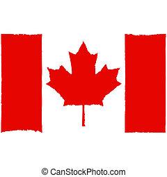 peint, drapeau, canadien