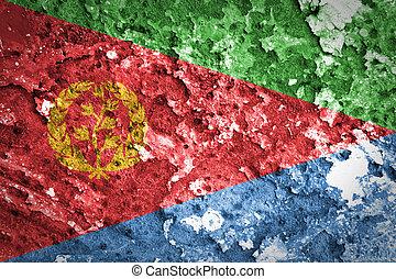 peint, drapeau eritrea, mur, béton