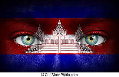 peint, drapeau, humain, cambodge, figure