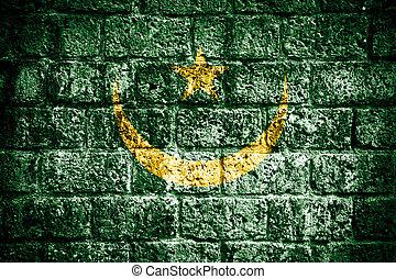 peint, drapeau mauritanie, grunge, mur