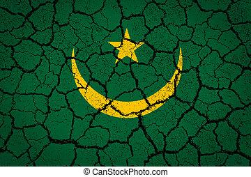 peint, drapeau mauritanie, terre fissurée