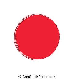 peint, drapeau, sun., ink., japon, rouges