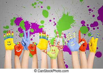 peint, enfants, mains