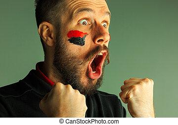 peint, face., drapeau, allemagne, portrait, lui, homme