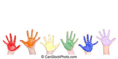 peint, frontière, mains