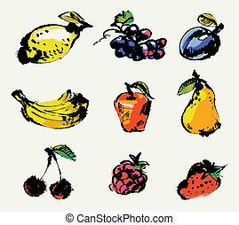 peint, fruits., ensemble, main