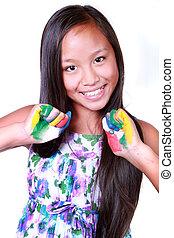 peint, girl, heureux, asiatique, mains