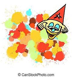 peint, gouttes, clown, coloré, eclabousse