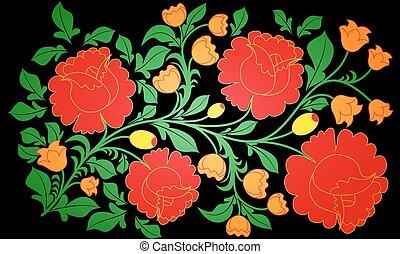 peint, grand, roses, clair, autre, arrière-plan noir, fleurs