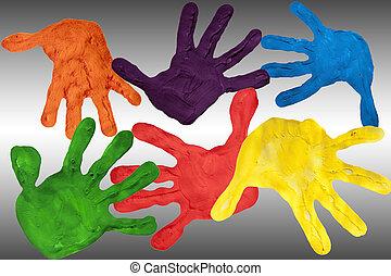 peint, gris, gradient, fond, mains, blanc