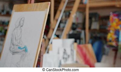 peint, images, mâle, femme, studio, femme, portraits, art, étudiants, gros plan, être