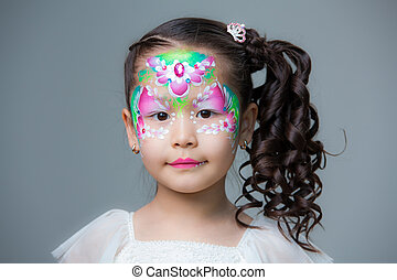 peint, lyu., figure, asian-looking, portrait, girl, peinture