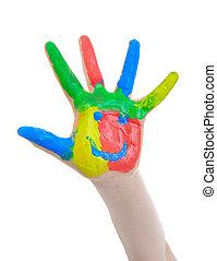 peint, main, enfant