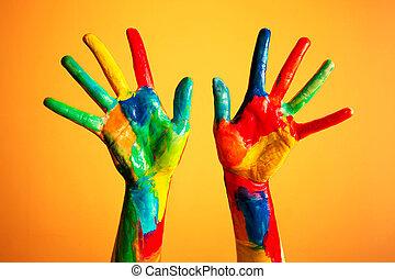 peint, mains, coloré, fun., arrière-plan orange
