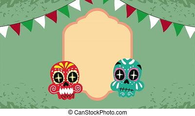 peint, mexique, célébration, animation, guirlandes, crâne
