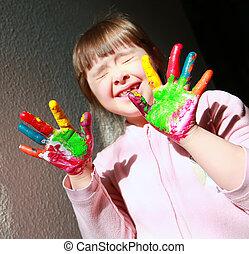 peint, mignon, petite fille, hands.