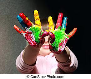 peint, mignon, peu, gosse, main