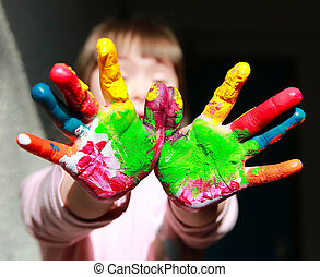 peint, mignon, peu, gosse, mains