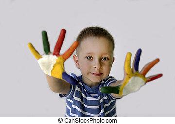 peint, mignon, peu, mains, garçon