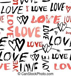peint, modèle, amour, mots, main