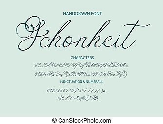 peint, moderne, calligraphic, brosse, font., letters.