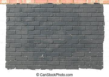 peint, mur, brique, gris