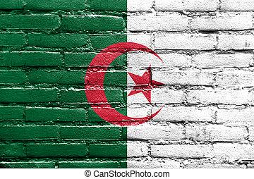 peint, mur, drapeau, brique, Algérie