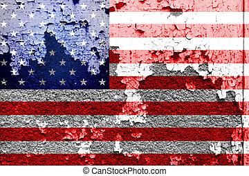 peint, mur, drapeau,  grunge,  USA