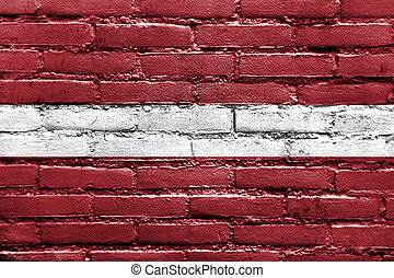 peint, mur, drapeau, Lettonie, brique