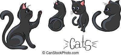 peint, noir, poses., différent, chats, ensemble